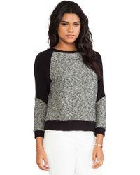 Enza Costa Tweed Panel Sweatshirt - Lyst