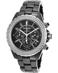 Chanel Pre-Owned Women'S Diamond J12 Automatic Chrono Black Ceramic Black Dial silver - Lyst