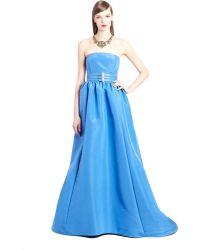 Oscar de la Renta Tanzanite Strapless Silk Faille Gown - Lyst