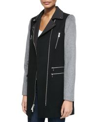 Dawn Levy Notched-Collar Moto Coat - Lyst