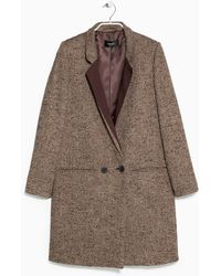 Mango Flecked Woolblend Coat - Lyst