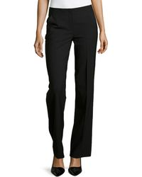 Donna Karan New York Stretch Wool Flat-Front Trousers - Lyst