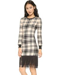 Haute Hippie Plaid Sweatshirt Dress with Fringe Black Multi - Lyst