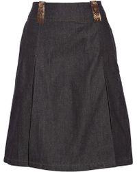 Acne Studios Kate Leather-Trimmed Denim Skirt - Lyst