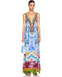 Camilla Long V Neck Drawstring Silk Dress - Lyst