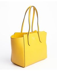 Gucci Yellow Leather Swing Small Tote - Lyst