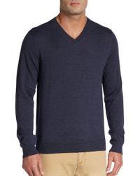 Saks Fifth Avenue Black Label - Wool V-neck Sweater - Lyst