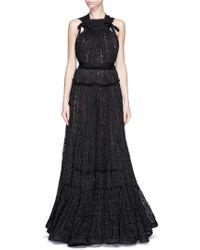 Lanvin Bow Appliqué Tiered Lace Gown black - Lyst
