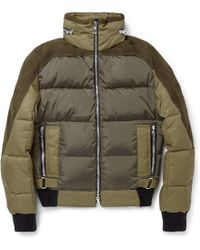 Balmain Suedepanelled Padded Down Jacket - Lyst