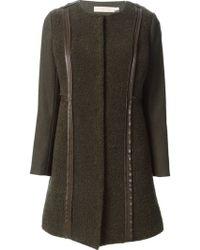 Tory Burch Textured Collarless Coat - Lyst