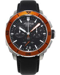 Alpina - Al372lbo4v6 Seastrong Diver Stainless Steel And Leather Watch - Lyst