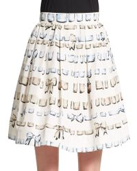 RED Valentino Bow-print Pleated Skirt - Lyst