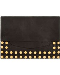 Valentino Black Grained Leather Studded Clutch - Lyst