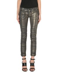 Diesel Moto Coated Skinny Midrise Jeans Gold Treated - Lyst