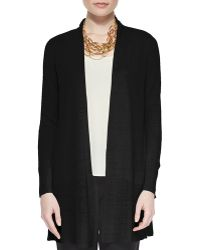Eileen Fisher Straight Long Washable Crepe Cardigan - Lyst