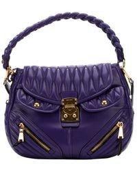Miu Miu Purple Lambskin Matelasse Quilted Convertible Shoulder Bag - Lyst