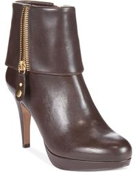 Adrienne Vittadini Brown Poppers Booties - Lyst