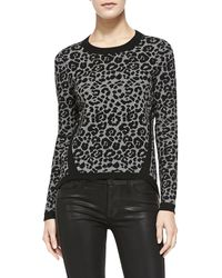 Milly Cheetahjacquard Pullover Blackcharcoal Petite - Lyst