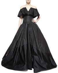 Zac Posen Cape-Overlay Ball Gown - Lyst