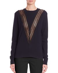 Adam Lippes   Embroidered Crewneck Sweater   Lyst