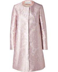 Mary Katrantzou Silk Blend Jacquard Coat - Lyst