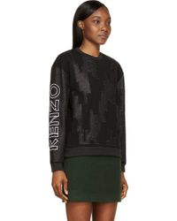 Kenzo Black Embroidered Twill Logo Sleeve Pullover - Lyst