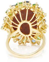 Pamela Huizenga | 18K Gold Ring With Boulder Opal, Tsavorites, Sapphires, And Diamonds | Lyst