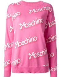 Moschino Logo Intarsia Sweater - Lyst