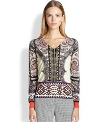 Etro Checker Paisley-Print Sweater - Lyst