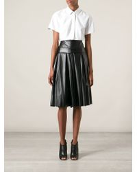 DKNY Pleated Midi Skirt - Lyst