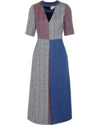 Roksanda Ilincic Layne Herringbone Tweed Midi Dress - Lyst