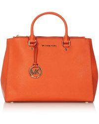 Michael Kors Sutton Orange Large Square Tote Bag - Lyst
