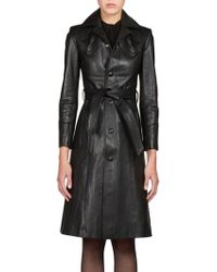 Saint Laurent Belted Leather Coat - Lyst