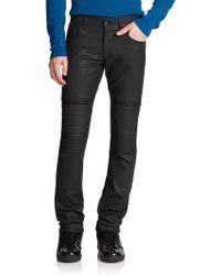 Versace Coated Slim-Fit Moto Jeans - Lyst