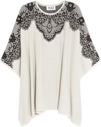 Alice By Temperley Wisp Lace Intarsia Cotton Poncho Style Top - Lyst