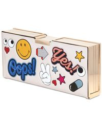 Anya Hindmarch Pencil Case Sticker Print Leather Clutch - Lyst