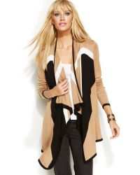 Inc International Concepts Long-sleeve Draped Colorblock Cardigan - Lyst