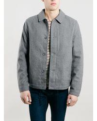 Topman Grey Wool Mix Coach Jacket - Lyst