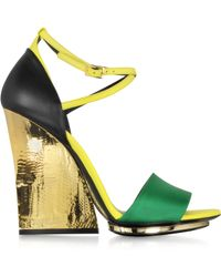 Roberto Cavalli Satin And Leather Wedge Sandal - Lyst