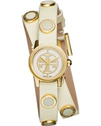 Tory Burch | Reva Mini Goldtone Stainless Steel & Studded Leather Strap Watch/ivory | Lyst