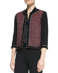 St. John Collection Milano Knit 3/4 Sleeve Jacket - Lyst