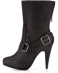 Via Spiga Mimi Strapped Pebble Leather Boot Black Leather - Lyst