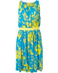 Emanuel Ungaro Abstract Print Belted Dress - Lyst