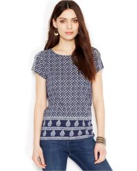 Lucky Brand Jeans Lucky Brand Short-Sleeve Scoop-Neck Printed Top - Lyst