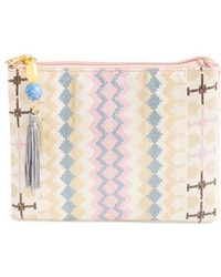 Berry - Geometric Print Clutch With Tassel - Lyst