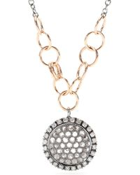 Roberto Marroni - 18kt Oxidized Gold Necklace With Brown And White Diamonds - Lyst