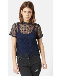 Topshop Crochet Front Tee - Lyst