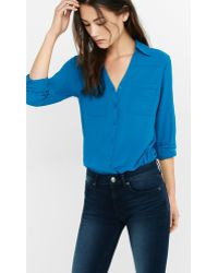 ab18c826c12c8 Express Original Fit Convertible Sleeve Portofino Shirt in Blue - Lyst