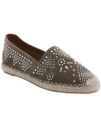 Valentino | Army Green Beaded Suede Slip-on Espadrilles | Lyst