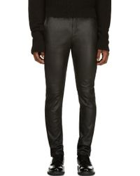 Costume National Black Leather Zip Pants - Lyst